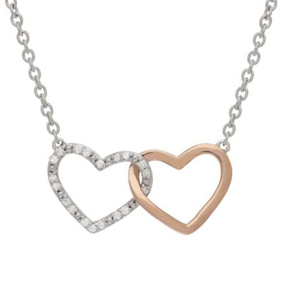 Sterling Silver and 14K Rose Gold .10 cttw Diamond Hearts Entwined 17-Inch Necklace