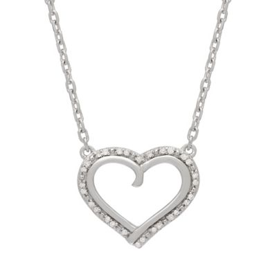 Badgley Mischka® Sterling Silver .09 cttw Diamond Open Heart Deco 17-Inch Pendant Necklace
