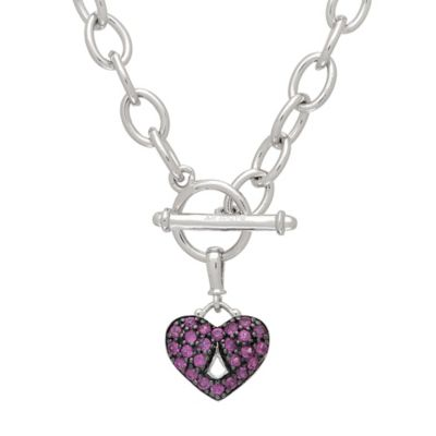 Badgley Mischka® Sterling Silver Pink Sapphire 17-Inch Chain Pave Heart Pendant Necklace