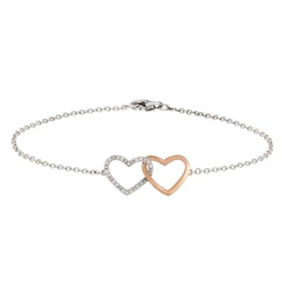 Sterling Silver and 14K Rose Gold .10 cttw Diamond Heart Entwined 7-Inch Bracelet
