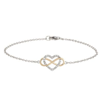 Sterling Silver and 14K Yellow Gold .16 cttw Diamond Infinity Heart Entwined 7-Inch Bracelet