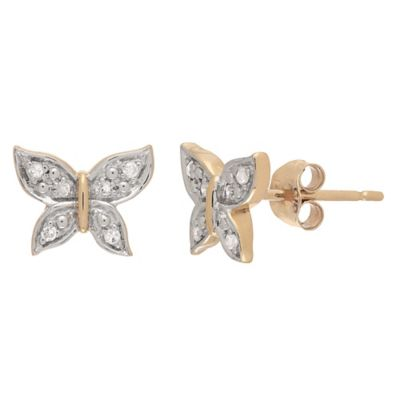 Badgley Mischka® 14K Yellow Gold .006 cttw Diamond Butterfly Bliss Earrings