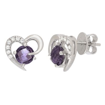 Badgley Mischka® Sterling Silver Amethyst and White Topaz Deco Heart Earrings
