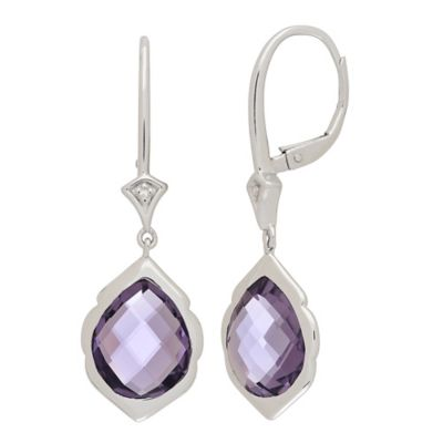 Badgley Mischka® Sterling Silver .0108 cttw Diamond and Pear-Shape Amethyst Dangle Earrings