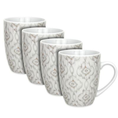 Dena™ Home Jaida Bone Mugs in White (Set of 4)