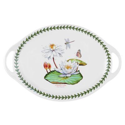 Portmeirion® Exotic Botanic Garden Large White Water Lily Handled Oval Platter