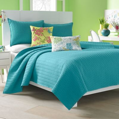 J by J. Queen New York Camden Twin Coverlet in Turquoise