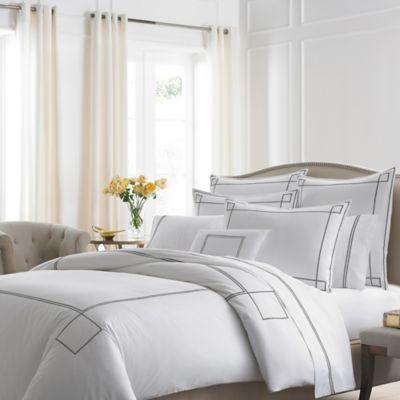 Kassatex Lucca Standard Pillow Sham in White/Pewter