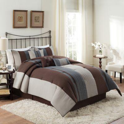 Emmet Reversible 7-Piece Queen Comforter Set in Espresso