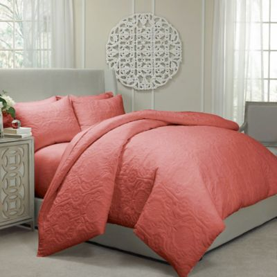 Vue® Barcelona Convertible Queen Coverlet-to-Duvet Cover Set in Coral
