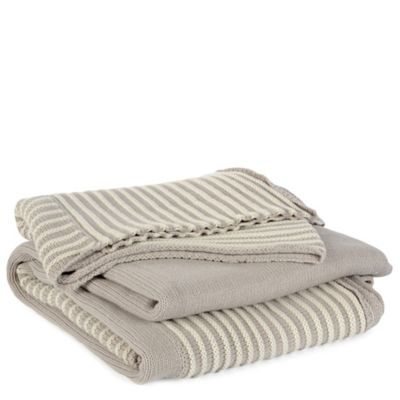Berkshire Luxe Boutique Luxury Striped Knit Throw in Khaki