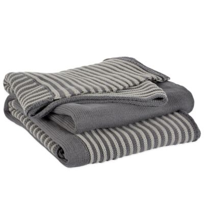 Berkshire Luxe Boutique Luxury Striped Knit Throw in Grey