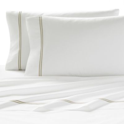 Kassatex Lucca Queen Flat Sheet in White/Champagne