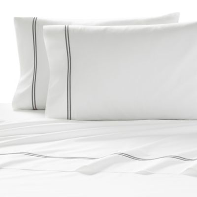 Kassatex Lucca Queen Flat Sheet in White/Pewter