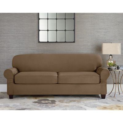 Sure Fit® Designer Suede Individual Cushion 2-Seat Sofa Slipcover in Grey