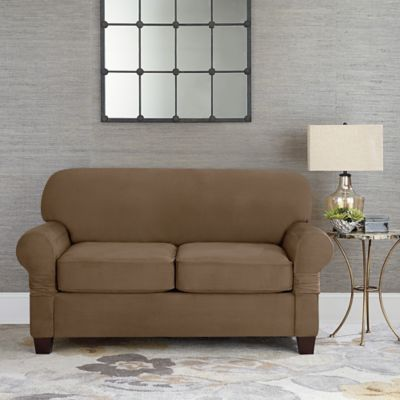 Sure Fit® Designer Suede Individual Cushion Love Seat Slipcover in Taupe