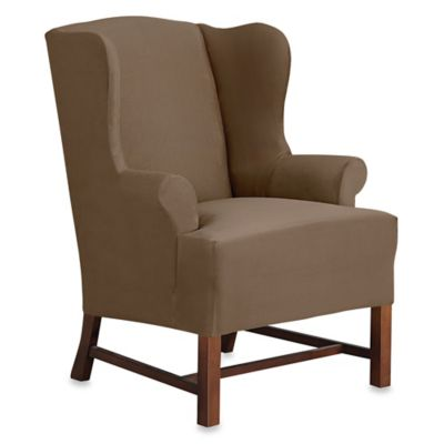 Sure Fit® Designer Suede Wing Chair Slipcover in Chocolate