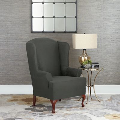 Sure Fit® Designer Suede Wing Chair Slipcover in Grey