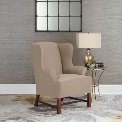 Sure Fit® Designer Suede Wing Chair Slipcover in Linen