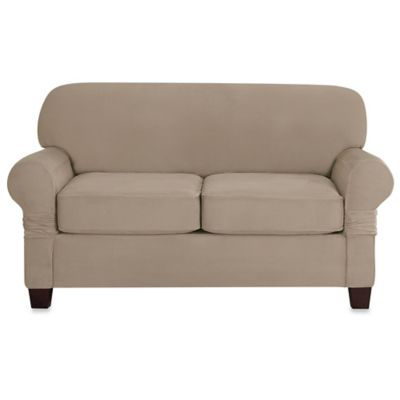 Sure Fit® Designer Suede Individual Cushion Love Seat Slipcover in Linen