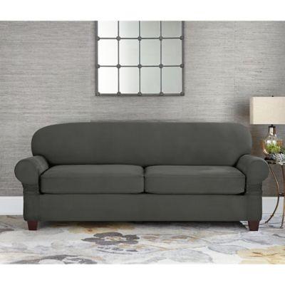 Sure Fit® Designer Suede Individual Cushion 2-Seat Sofa Slipcover in Grey