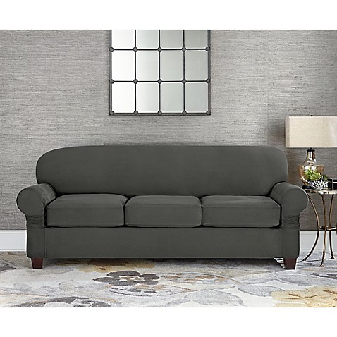 buy sure fit designer suede individual cushion 3 seat sofa slipcover in grey from bed bath beyond. Black Bedroom Furniture Sets. Home Design Ideas