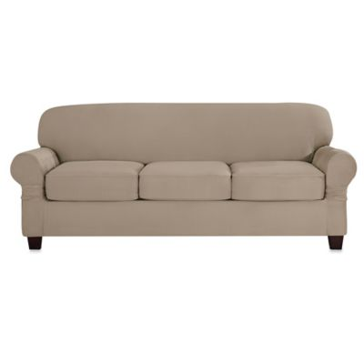 Sure Fit® Designer Suede Individual Cushion 3-Seat Sofa Slipcover in Linen