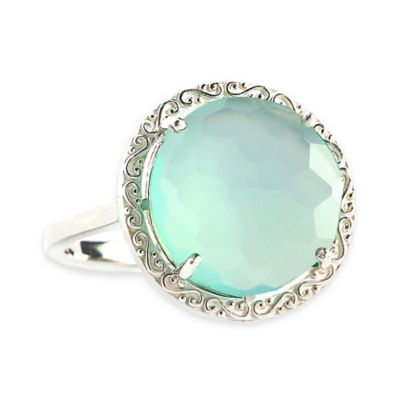 Suzanne Kalan Sterling Silver 12mm Round-Cut Blue Chalcedony Filigree Bezel Size 8.5 Ladies' Ring