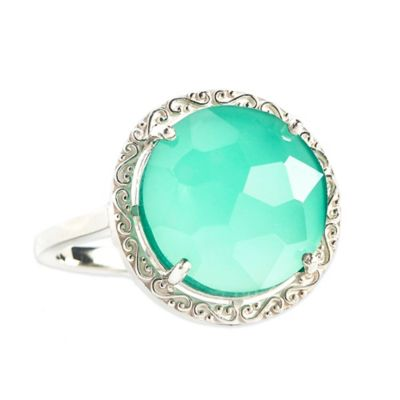 Suzanne Kalan Sterling Silver 12mm Round-Cut Green Onyx Filigree Bezel Size 6 Ladies' Ring