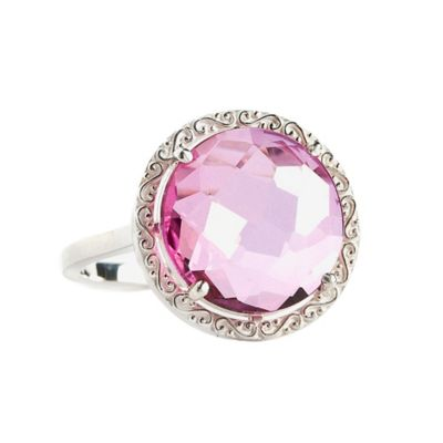 Suzanne Kalan Sterling Silver 12mm Round-Cut Pink Topaz Filigree Bezel Size 7.5 Ladies' Ring