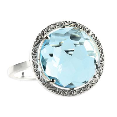 Suzanne Kalan Sterling Silver 12mm Round-Cut Blue Topaz Filigree Bezel Size 7.5 Ladies' Ring