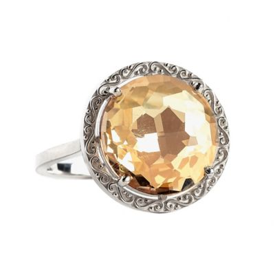 Suzanne Kalan Sterling Silver 12mm Round-Cut Champagne Topaz Filigree Bezel Size 6 Ladies' Ring