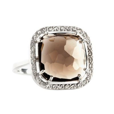 Suzanne Kalan Sterling Silver 12mm Cushion-Cut Smokey Quartz Filigree Bezel Size 8 Ladies' Ring