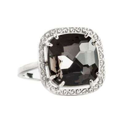 Suzanne Kalan Sterling Silver 12mm Cushion-Cut Black Quartz Filigree Bezel Size 6 Ladies' Ring
