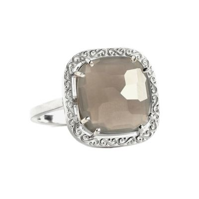 Suzanne Kalan Sterling Silver 12mm Cushion-Cut Grey Moonstone Filigree Bezel Size 7.5 Ladies' Ring