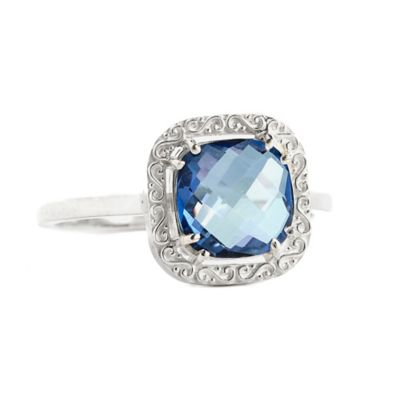 Suzanne Kalan Sterling Silver 8mm Cushion-Cut English Blue Topaz Filigree Bezel Size 6 Ring