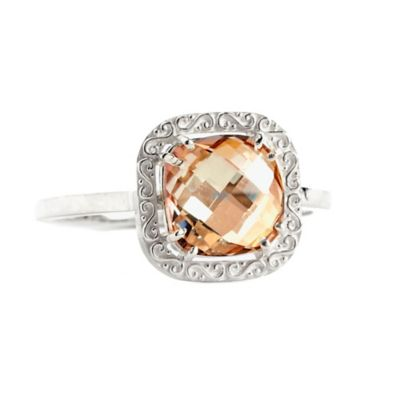Suzanne Kalan Sterling Silver 8mm Cushion-Cut Champagne Topaz Filigree Bezel Size 6.5 Ladies' Ring