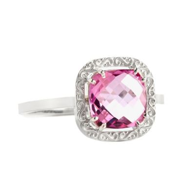 Suzanne Kalan Sterling Silver 8mm Cushion-Cut Pink Topaz Filigree Bezel Size 8.5 Ladies' Ring