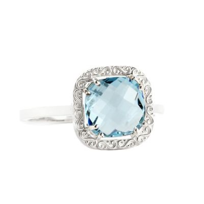 Suzanne Kalan Sterling Silver 8mm Cushion-Cut Blue Topaz Filigree Bezel Size 7 Ladies' Ring