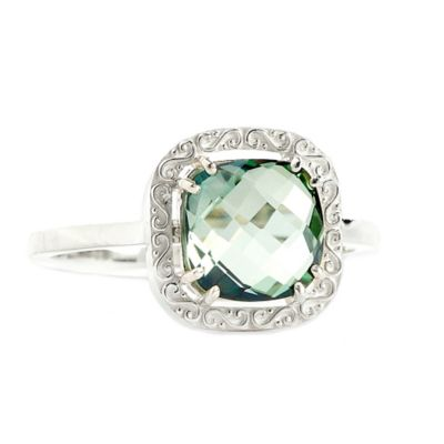Suzanne Kalan Sterling Silver 8mm Cushion-Cut Green Topaz Filigree Bezel Size 5 Ladies' Ring