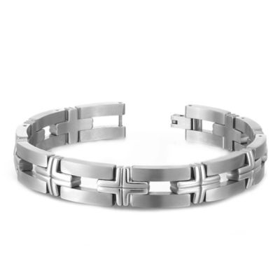 Titanium 9-Inch Cross and Bar Link Men's Bracelet
