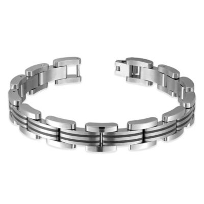 Titanium and Black Steel 8-Inch Men's Link Bracelet