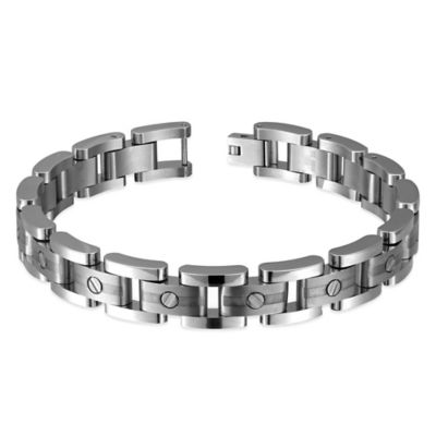 Titanium and Sterling Silver 8-Inch Rivet Accent Men's Link Bracelet