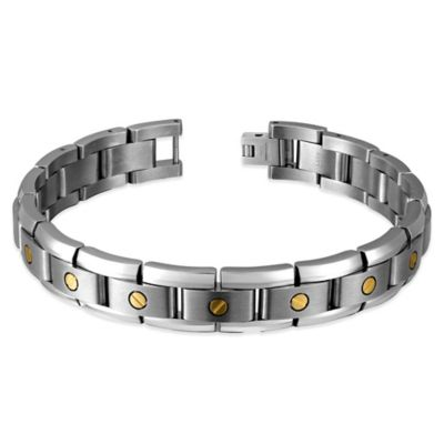 Titanium and 14K Yellow Gold 8-Inch Rivet Accent Men's Link Bracelet
