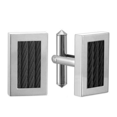 Titanium and Black Steel Cable Rectangular Cufflinks