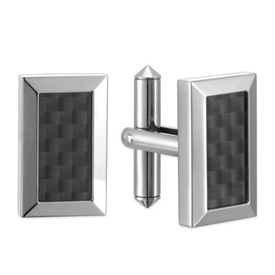 Titanium and Black Stainless Steel Rectangular Cufflinks