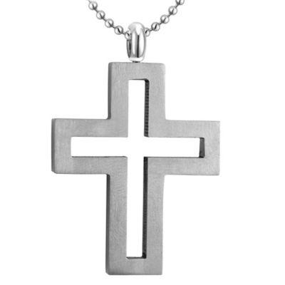 Titanium 20-Inch Bead Chain Men's Open Cross Pendant Necklace