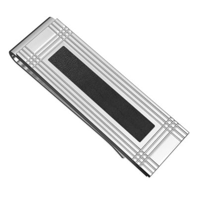 Titanium and Black Leather Inlay Grooved Money Clip