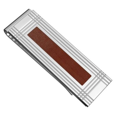 Titanium and Brown Leather Inlay Grooved Money Clip