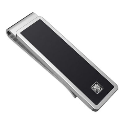 Titanium and Black Ion Plated Contrast Money Clip with Cubic Zirconia